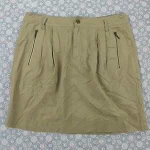 Banana Republic Silk Beige Skirt w Zipper Pockets